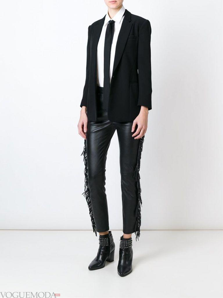 кожаные брюки с бахромой