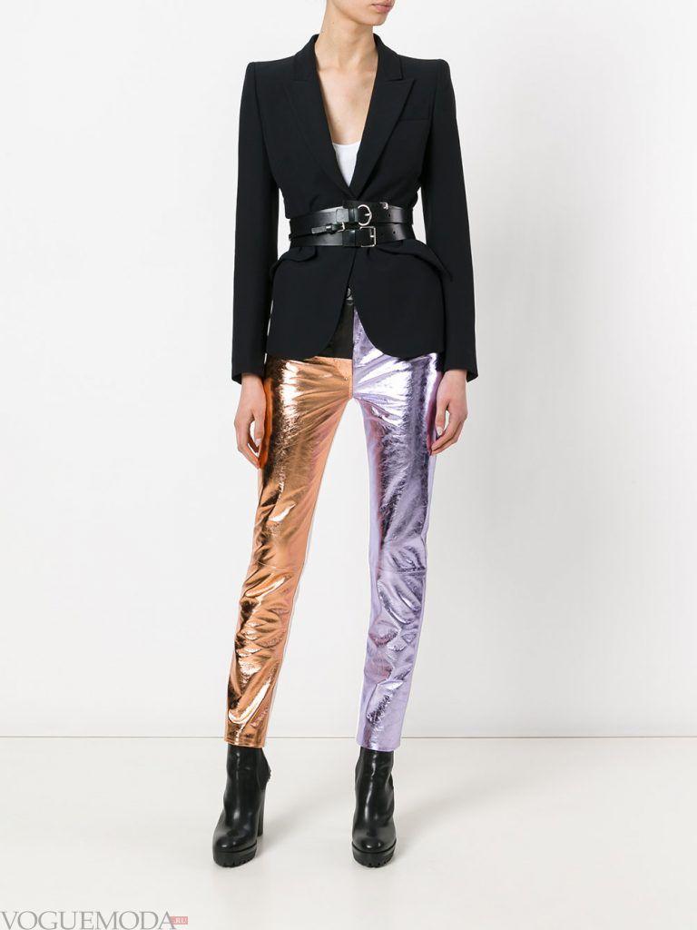 кожаные брюки цветные