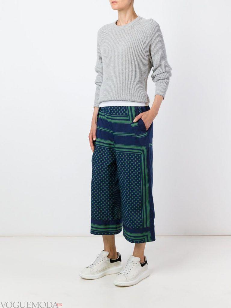 брюки кюлоты синие