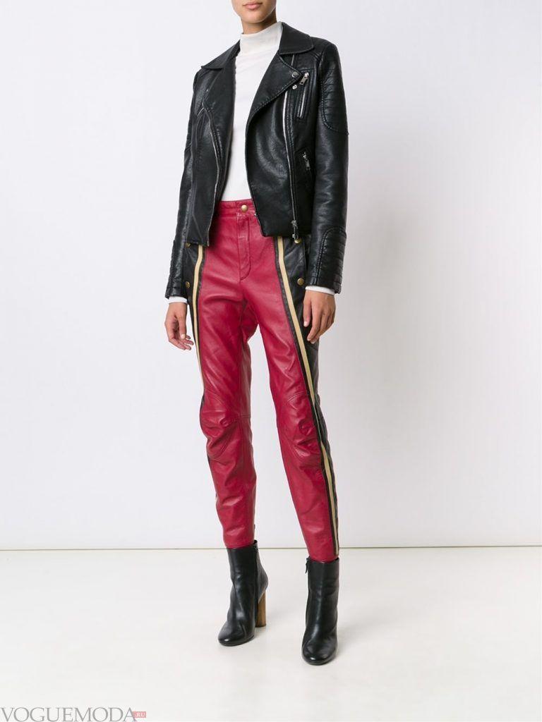 кожаные брюки красные