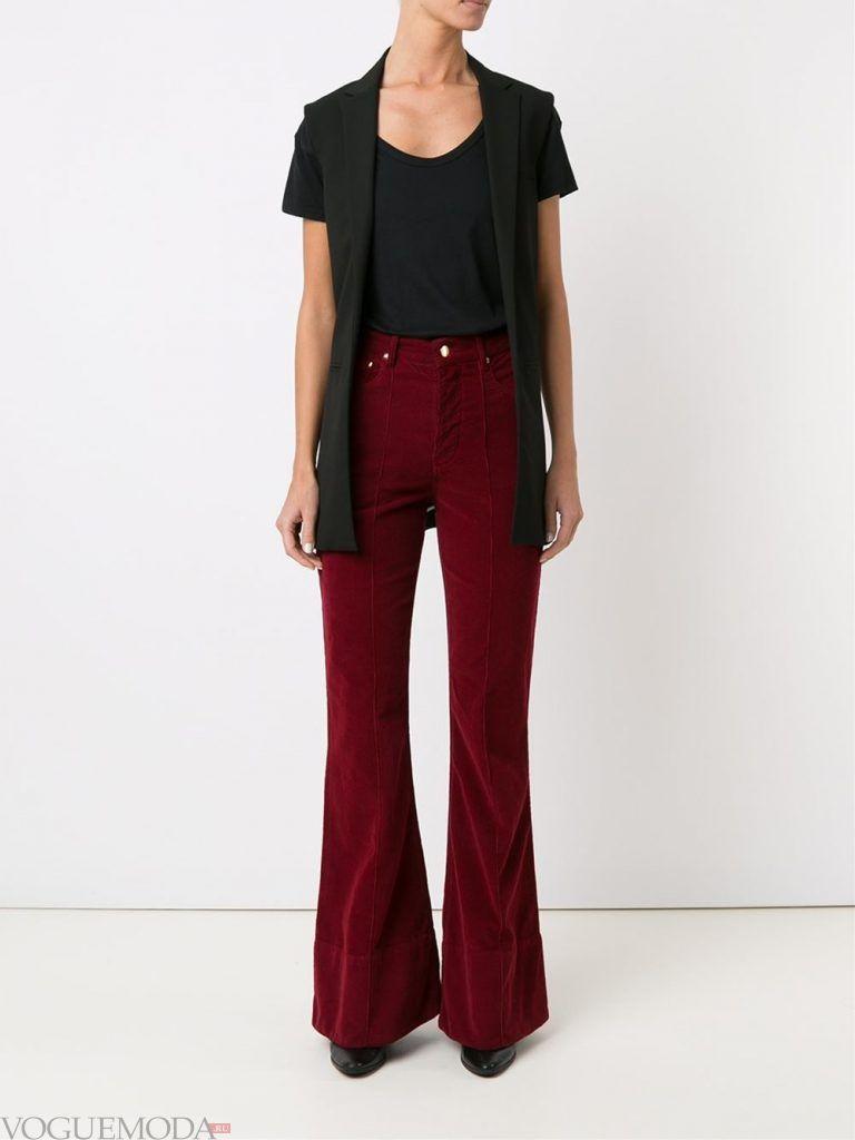 брюки клеш бордо