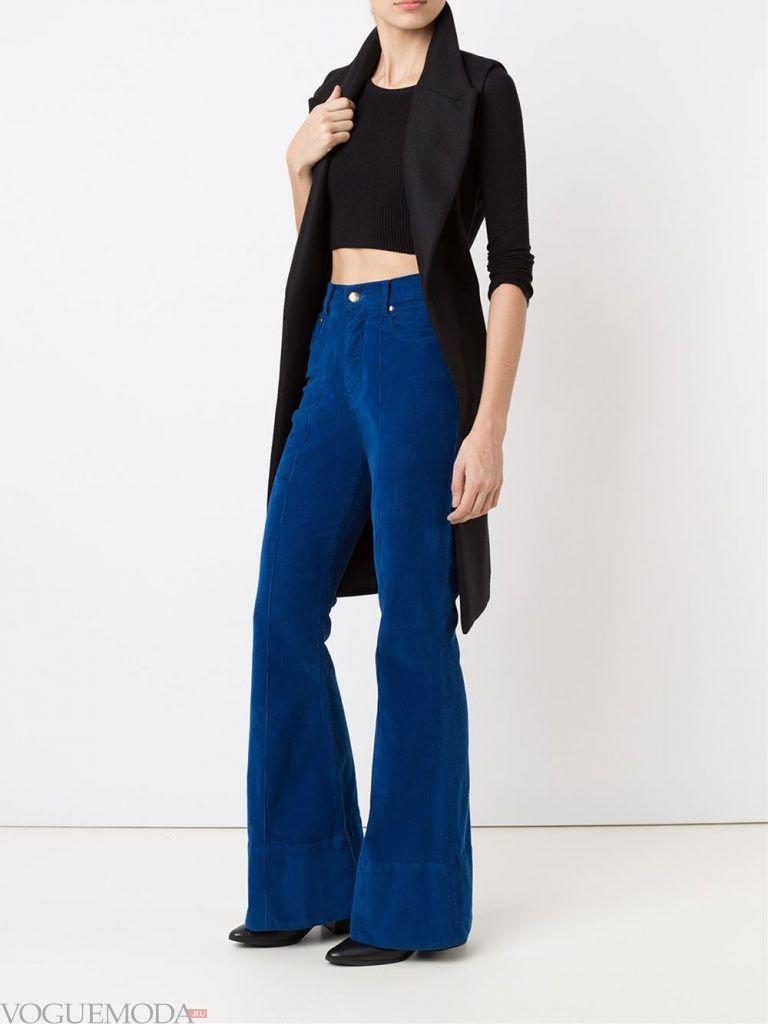 брюки клеш синие