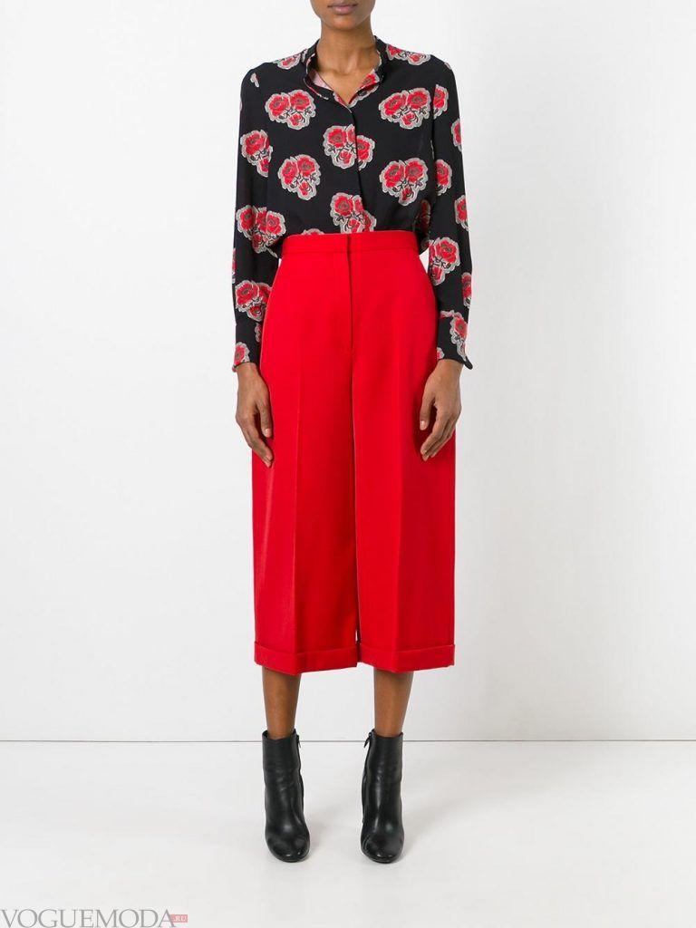 брюки кюлоты красные