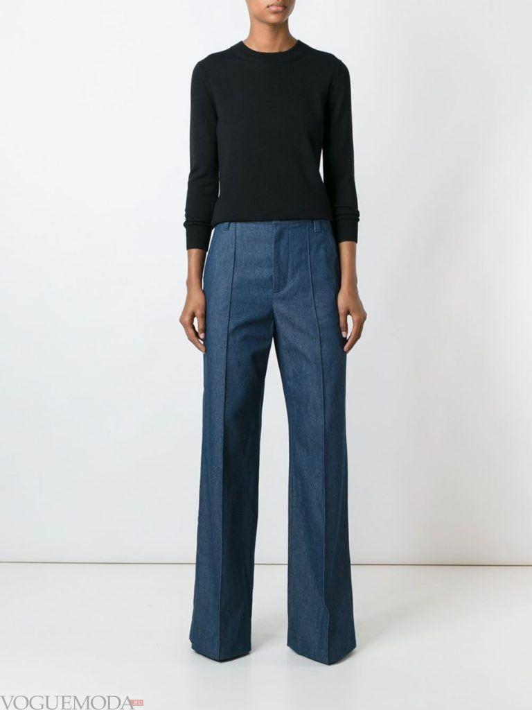 женские брюки синие