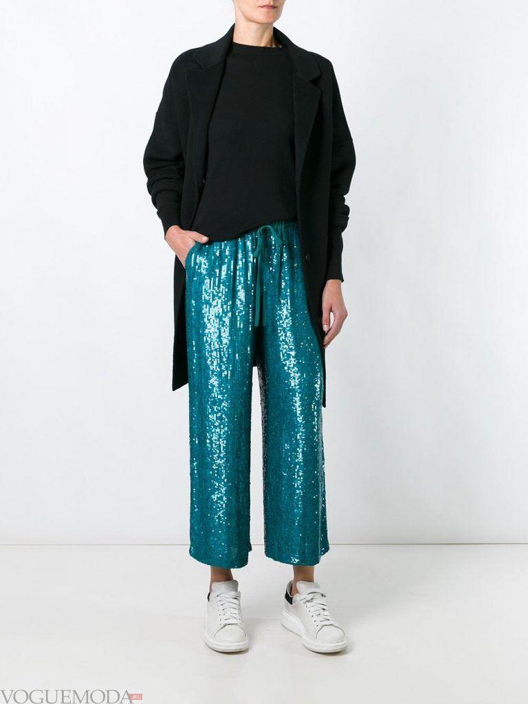брюки кюлоты блестящие