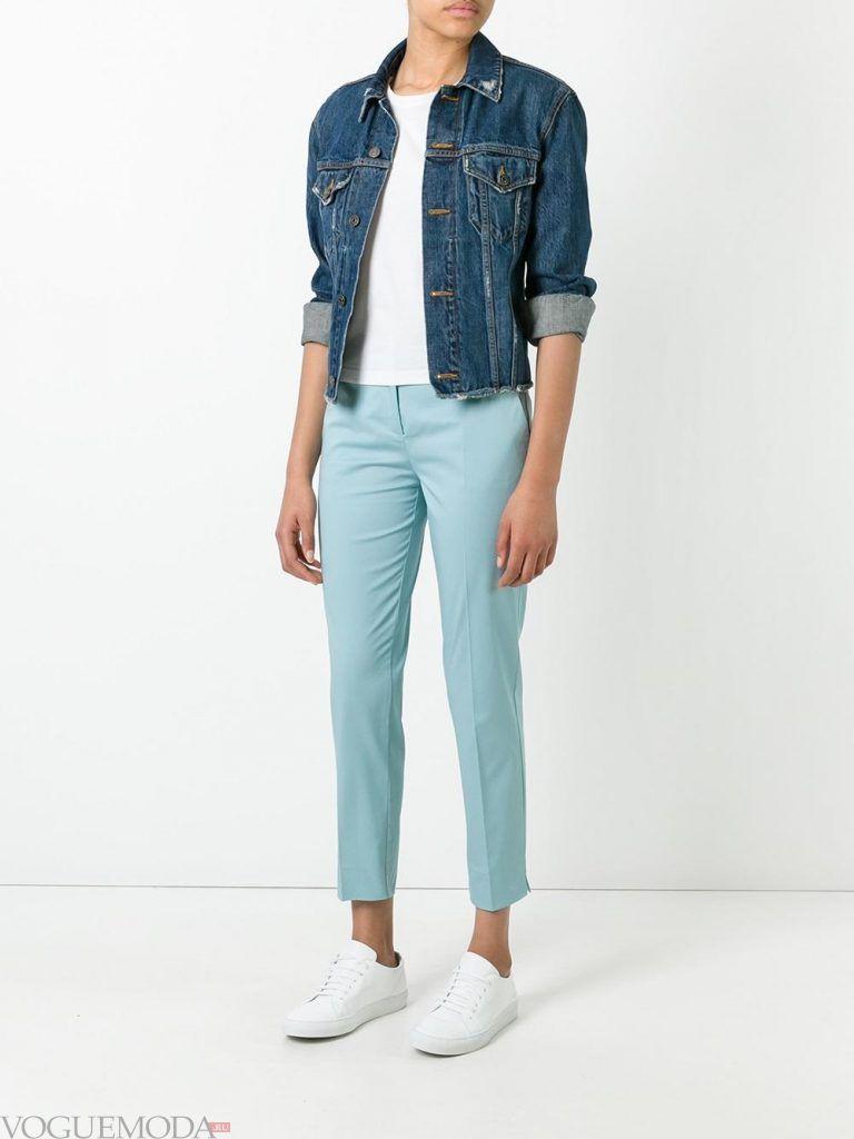 женские брюки голубые