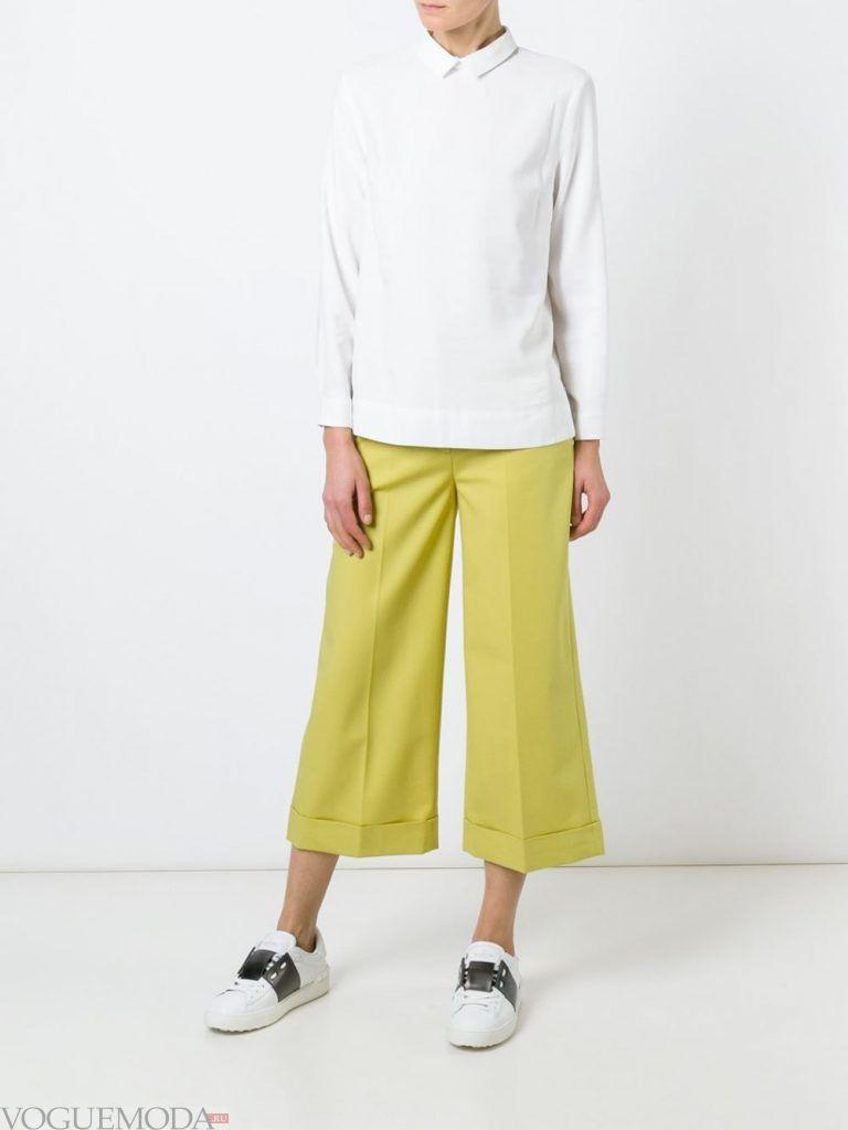 брюки кюлоты лимонные