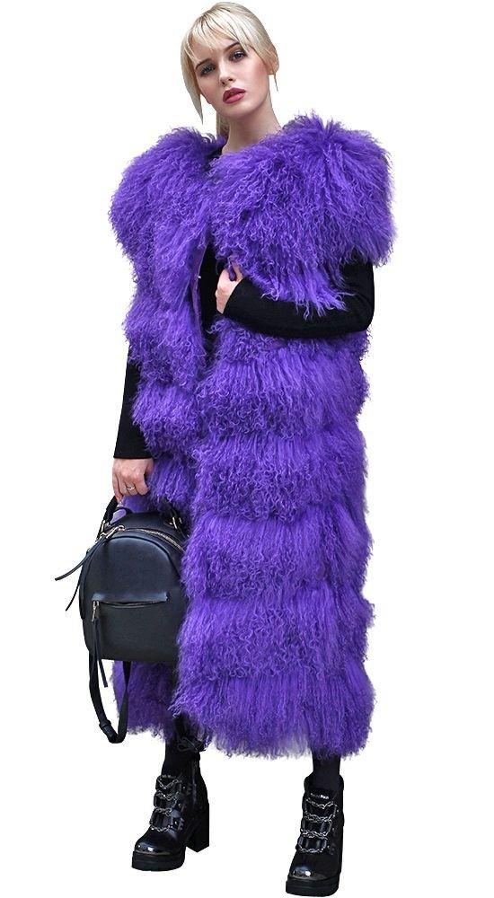 объемный меховой жилет фиолетовый