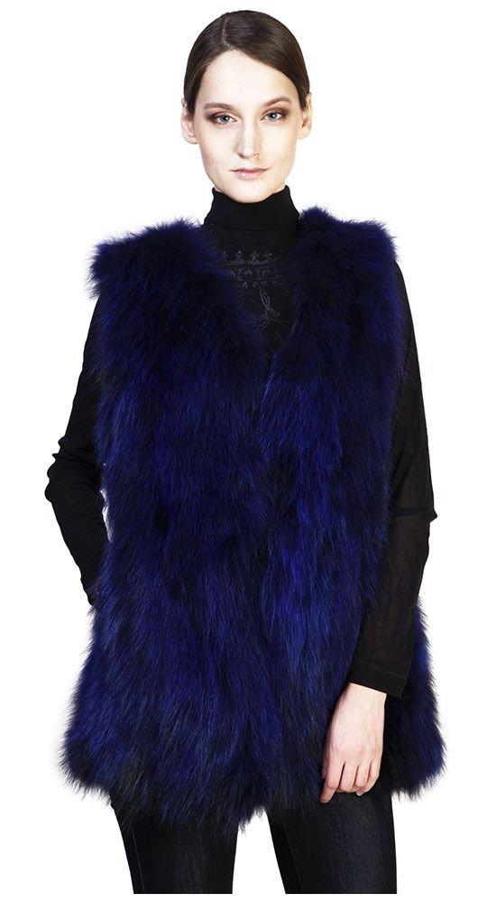 объемный меховой жилет синий