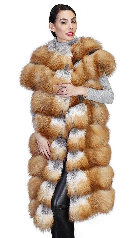 меховой жилет из лисы длинный