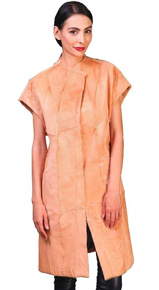 меховой жилет персиковый