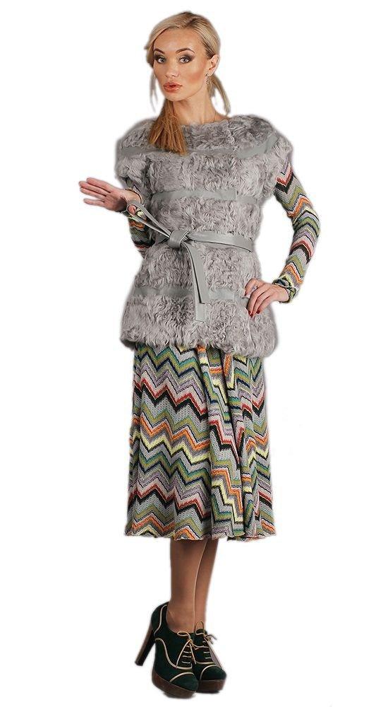 меховой жилет серый с поясом