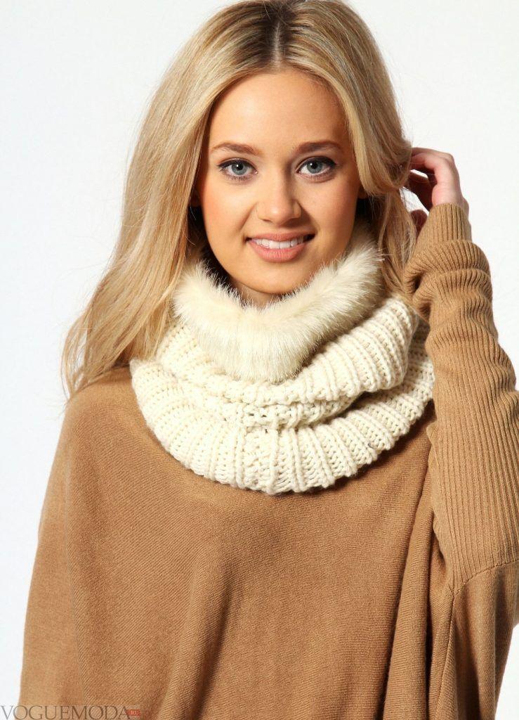 шарф-хомут молочный