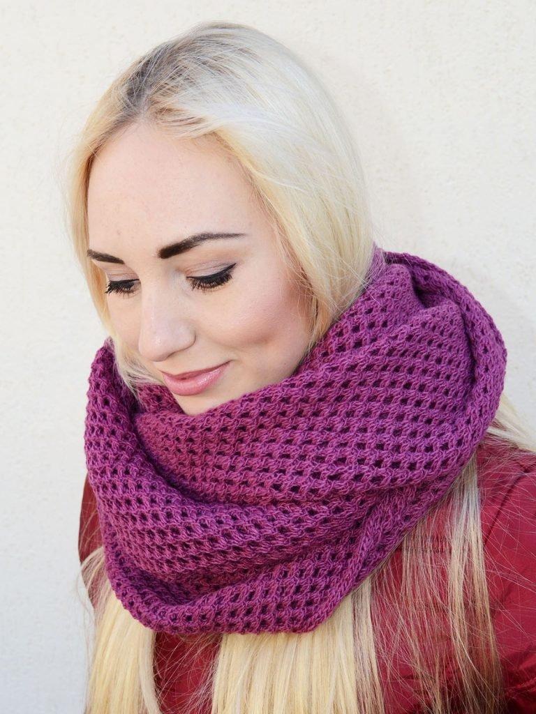 шарф-снуд сиреневый
