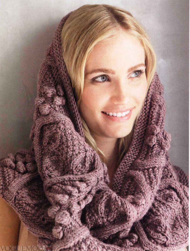шарф-хомут фиолетовый