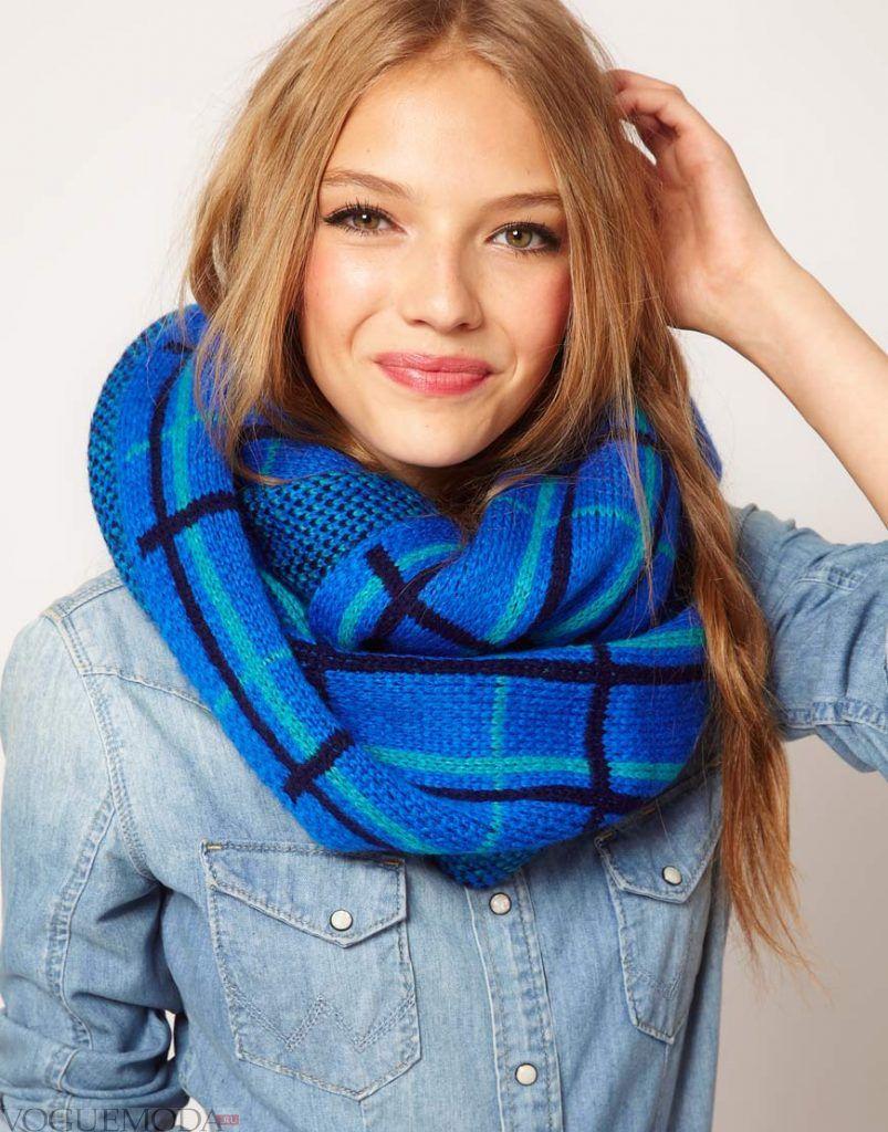 шарф-снуд синий