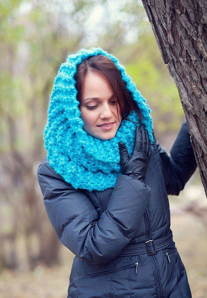 шарф-хомут голубой