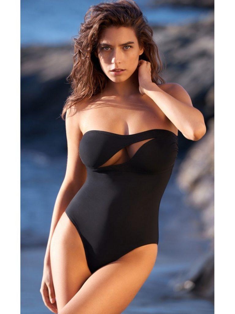 модные купальники: слитный черный