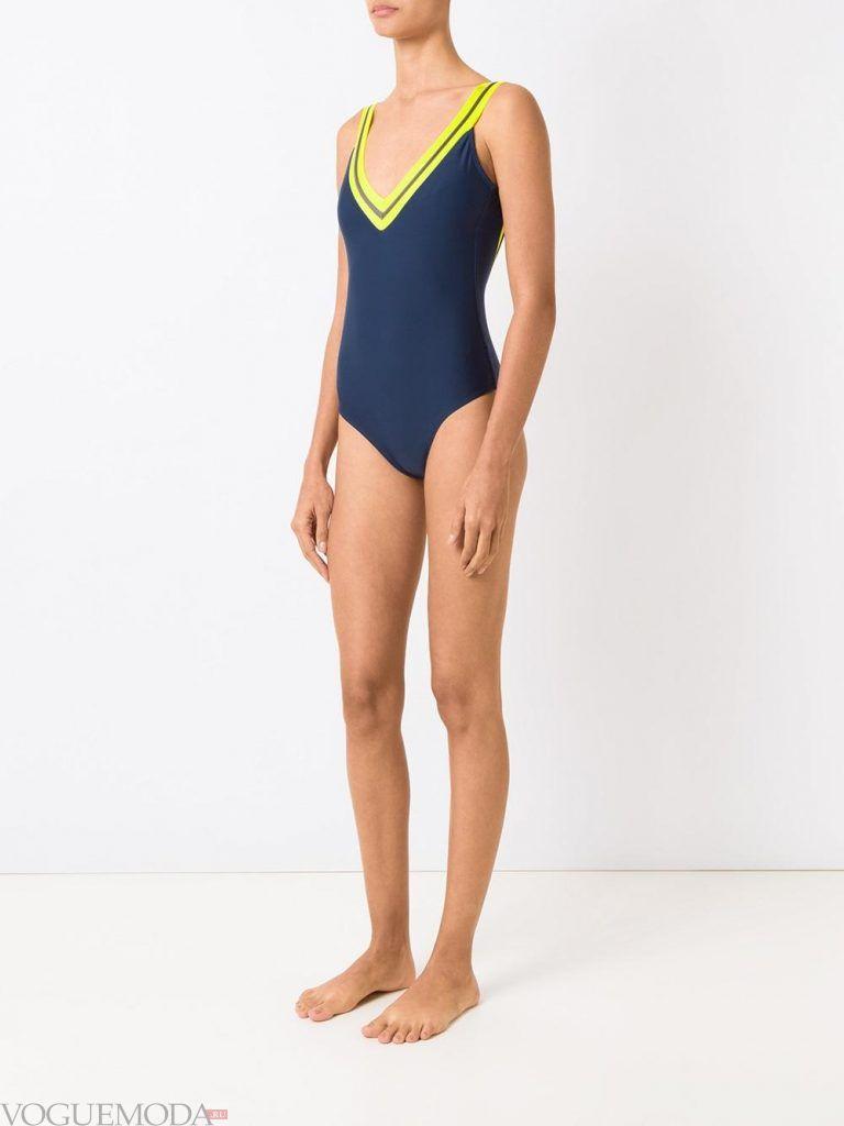 спортивный купальник синий
