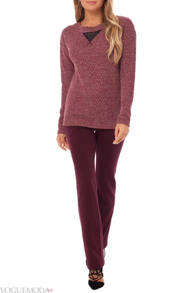 лук осень зима с цветными брюками