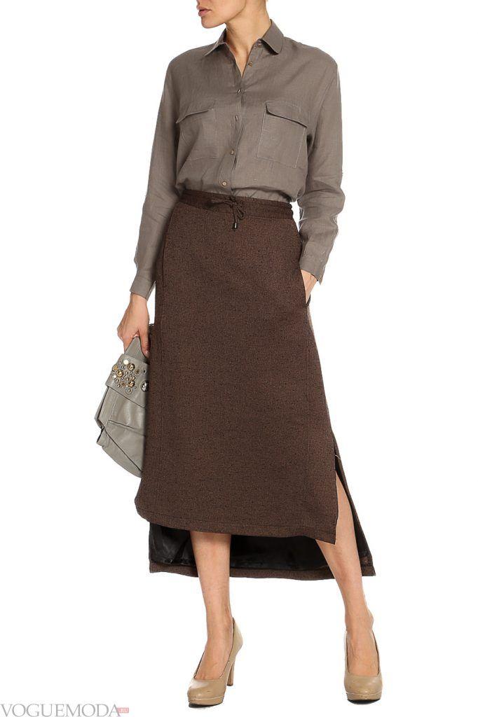 лук осень зима с асимметричной юбкой