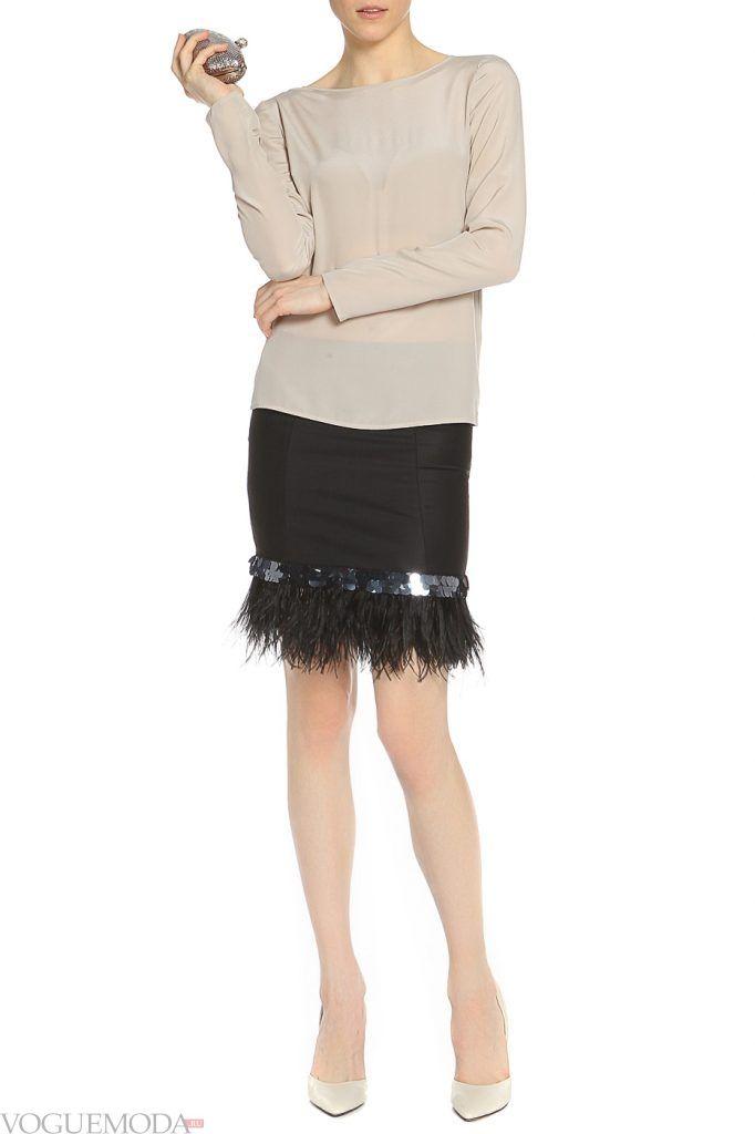 лук осень зима с юбкой с мехом
