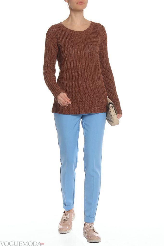 лук осень зима со цветным свитером
