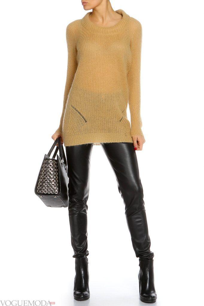 лук осень зима с желтым свитером