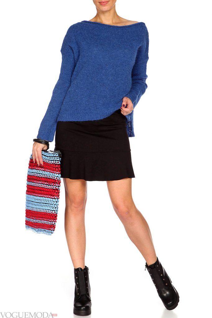 лук осень зима с синим свитером