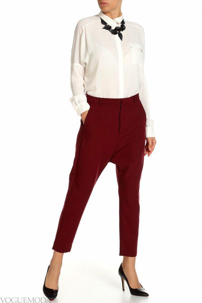 лук осень зима с красными брюками