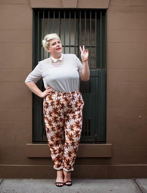 брюки для полных женщин с принтом