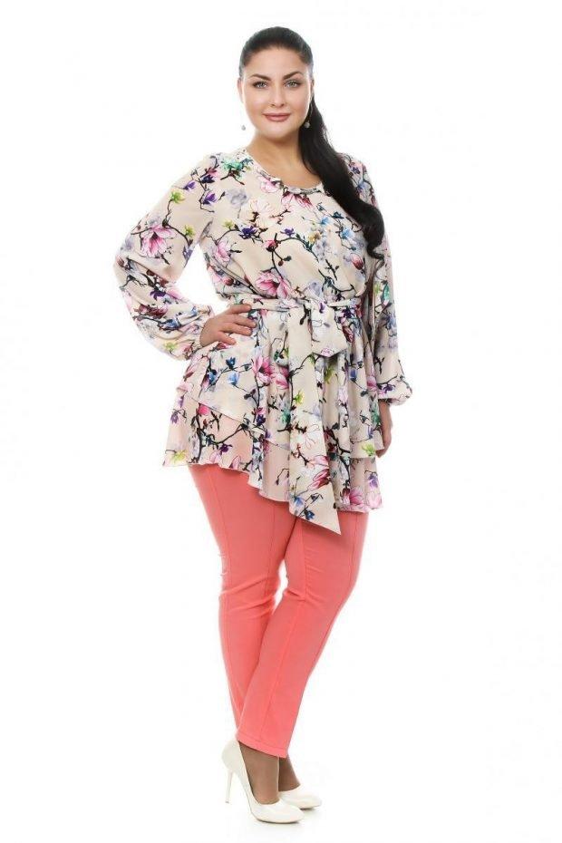 брюки для полных женщин розовые