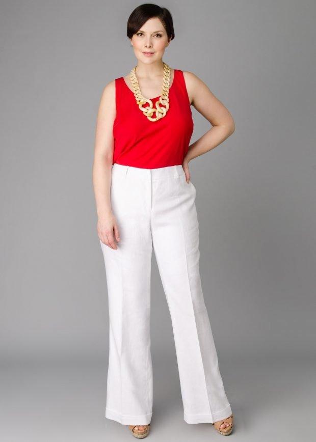 брюки для полных женщин белые