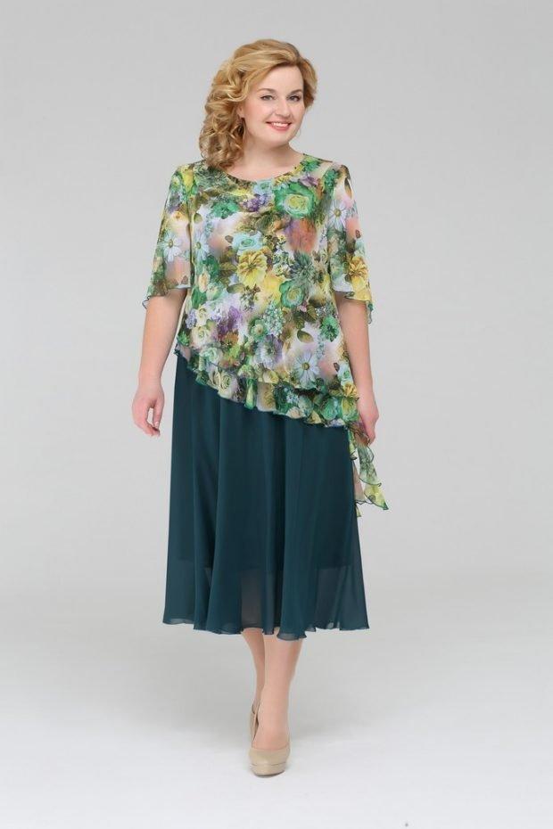 летняя мода для полных лук с юбкой