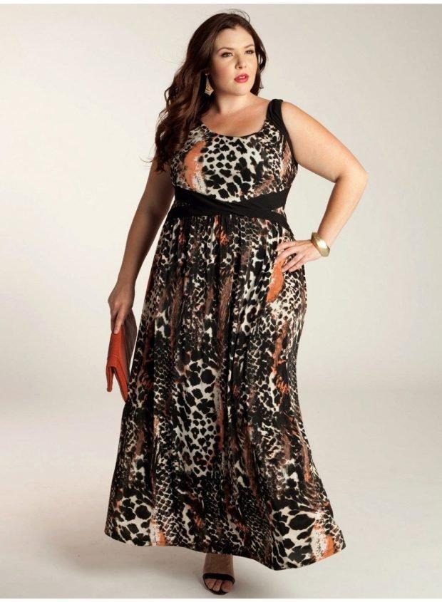 летняя мода для полных платье с принтом