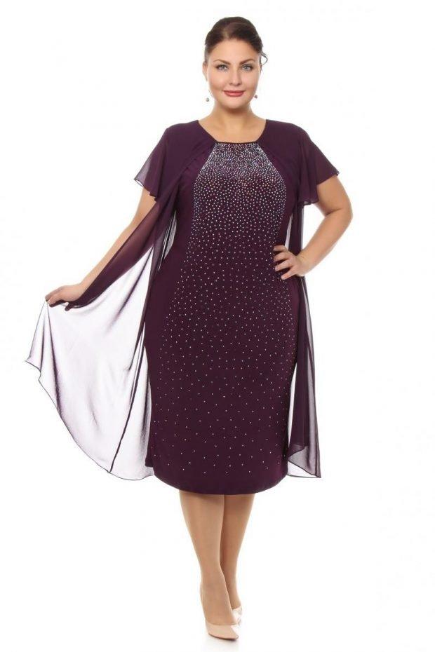 платье для полных женщин фиолетовое