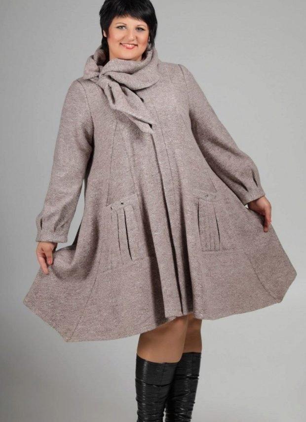 осенняя мода для полных лук с пальто