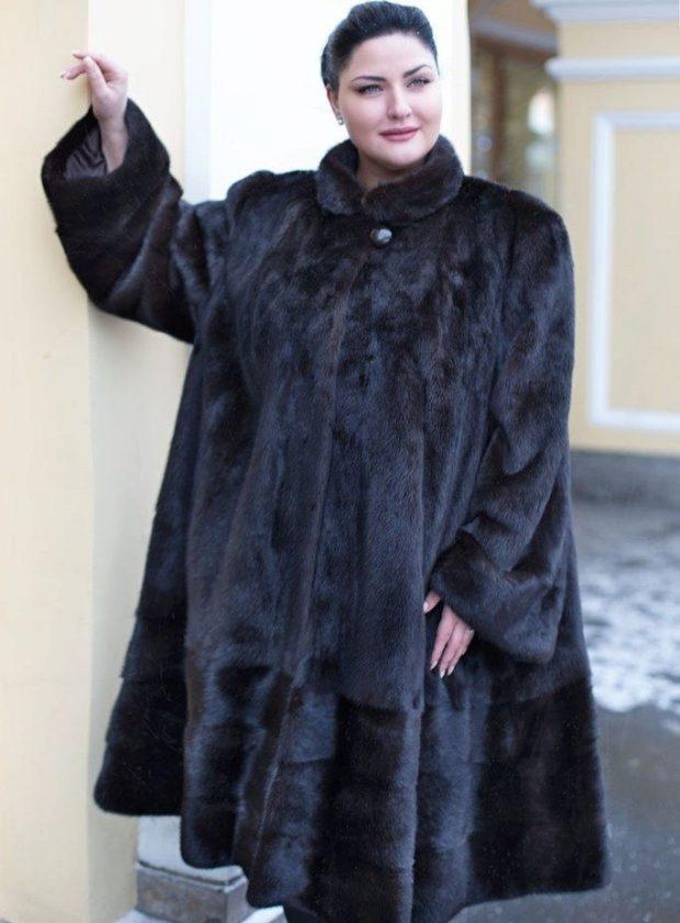 зимняя мода для полных шуба