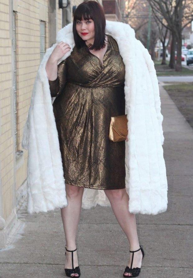 зимняя мода для полных белая шуба