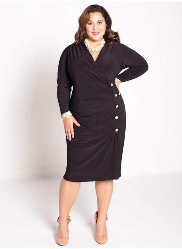мода для полных женщин черное платье