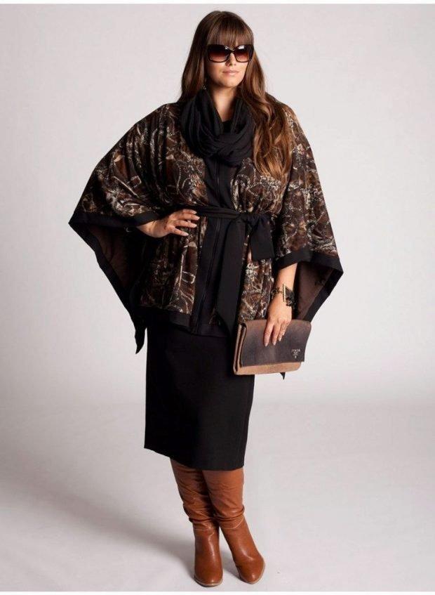 мода для полных женщин темный лук