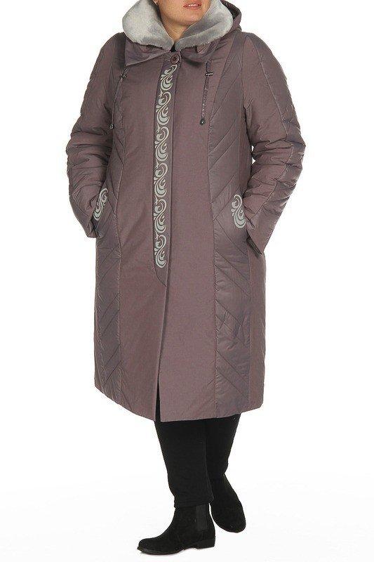 модное пальто для полных серое