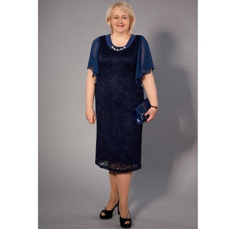 платье для полных женщин синее