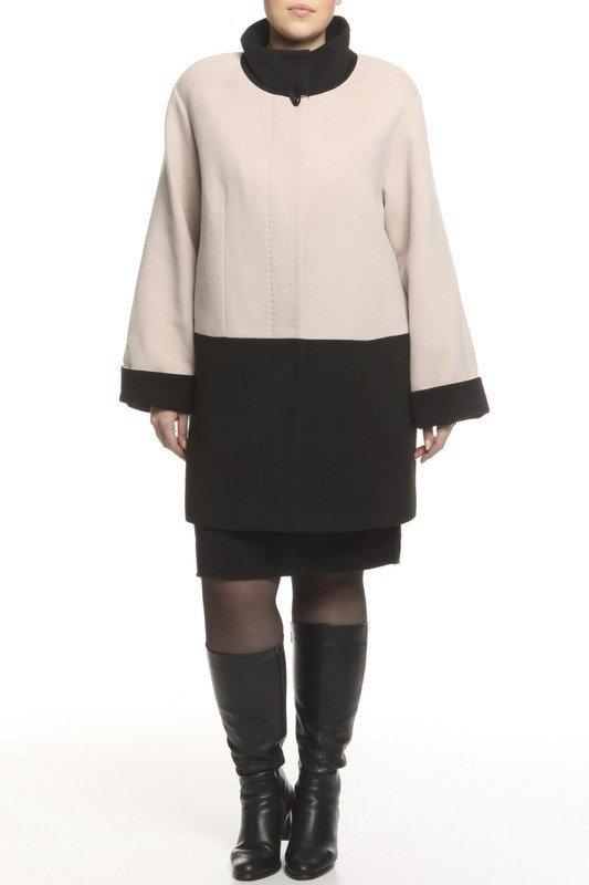 модное пальто для полных двухцветное
