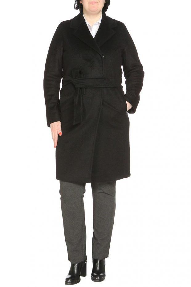 модное пальто для полных черное