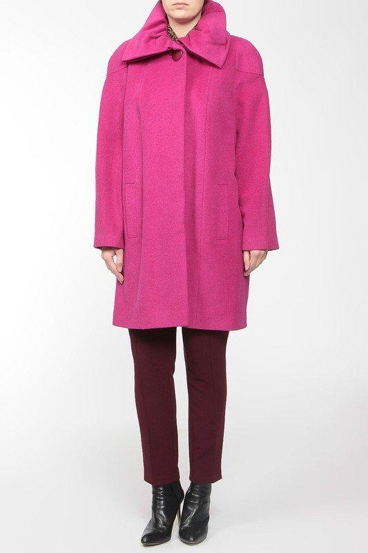 модное пальто для полных розовое
