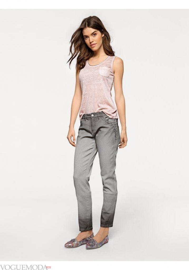 лук весна лето с серыми джинсами