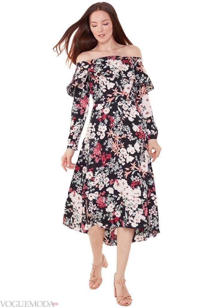 лук весна лето с платьем с принтом