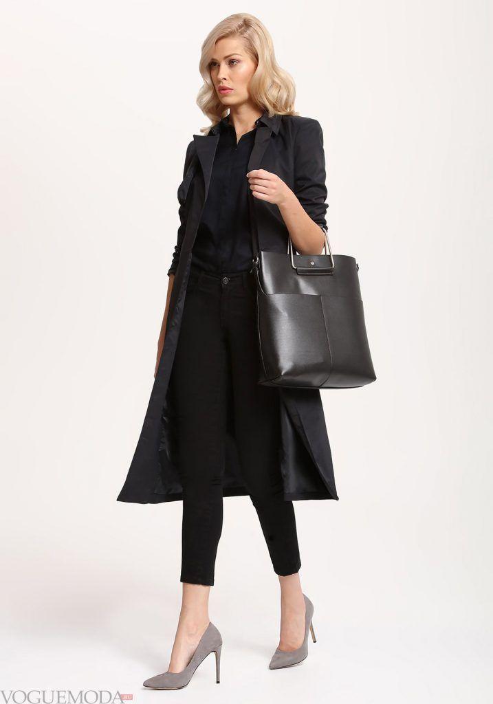 модный лук весна лето с темным пальто