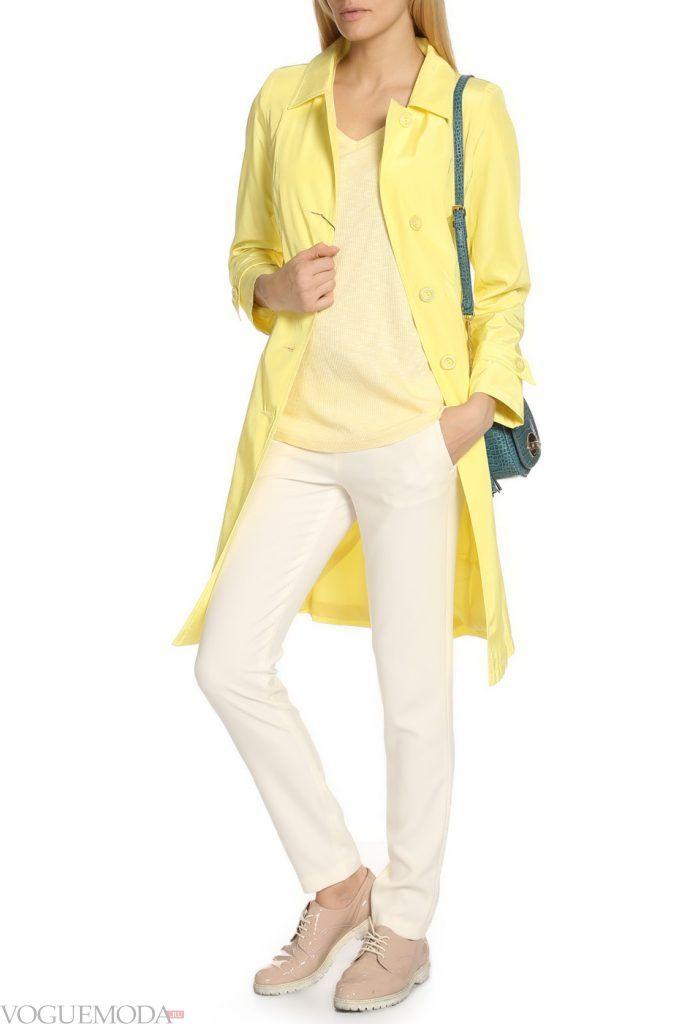 модный двубортный желтый